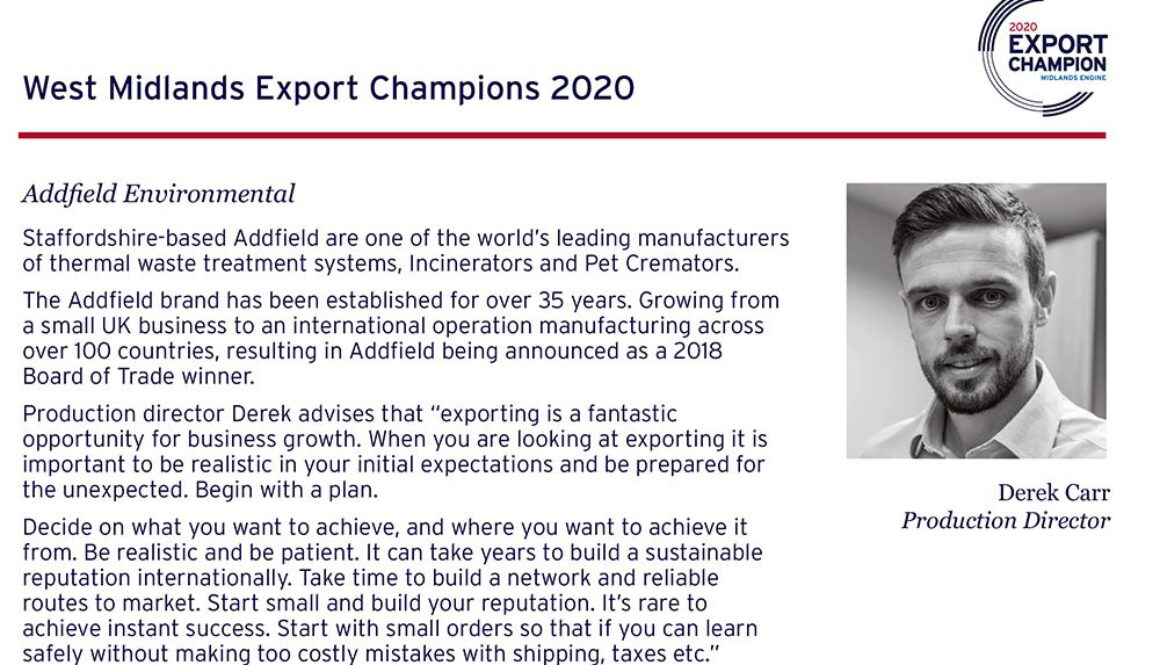 Addfield are exporting champions once again in 2020